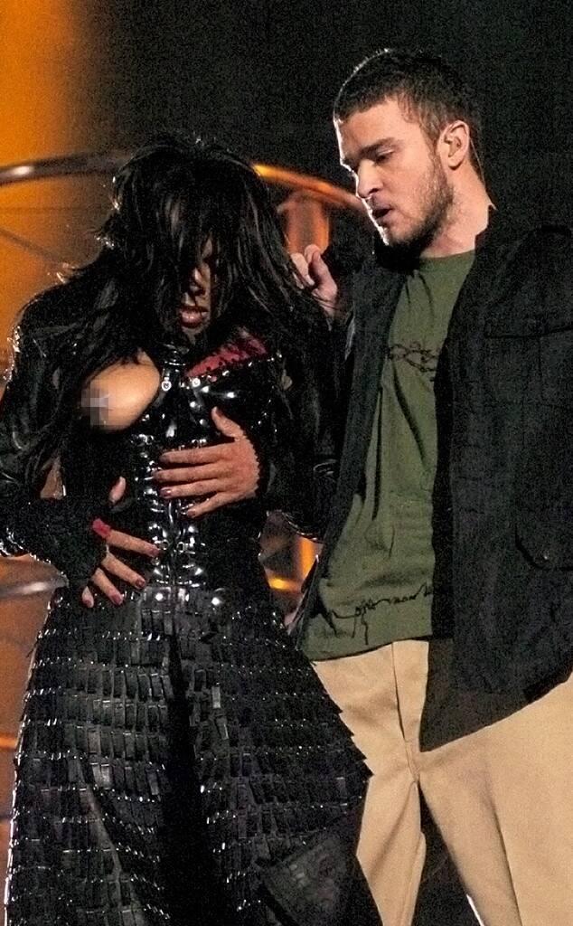 Janet jackson at the 2003 superbowl with Justin Timberlake.